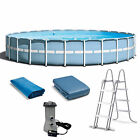 Intex 24 Feet x 52 Inches Prism Frame Pool Set with Ladder Cover and Pump