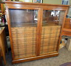 Antique Mission Oak Medical Surgical Dental Map Hutch Cupboard File Cabinet