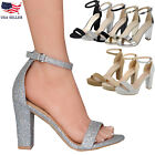 New Womens Ankle Strap Chunky Pump High Heel Sandals Party Dress Open Toe Shoes