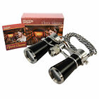 HQRP High Magnification 7x25 Opera Glasses Black Pearl Silver Trim and Necklace