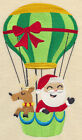 CHRISTMAS SANTA ON THE GO HOT AIR BALLOON HOLIDAY EMBROIDERED QUILT BLOCK (HP)