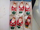 Large Blown Glass Christmas Ornaments Germany 5 santa  1 soldier ornament box
