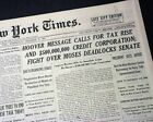 HERBERT HOOVER'S Great Depression Era State of the Union Address 1931 Newspaper