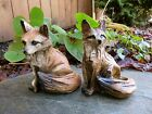 FOX SITTING FIGURINES resin animal Statue COUNTRYSIDE SMART SLY RED NEW 5