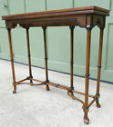 Hollywood Regency Faux Bamboo Chippendale Wood Swing Leg Console End Table