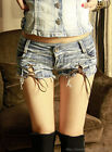 Vintage Womens Denim Shorts Cross Tie Low Waist Hot Pants Costume Ripped Jeans