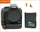 Canon EOS Rebel SL1 100D Digital Camera Body Battery Charger + Grip 528 Shots