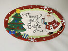 Fitz & Floyd Merry And Bright Santa Christmas Tree Sentiment Tray Plate Dish
