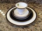 NWT 5 PC. PLACE SETTING WATERFORD ASHWORTH BONE CHINA BLACK & GOLD BORDER