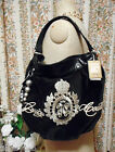 JUICY COUTURE large black velvet leather bag shoulder tote BNWT embroidery