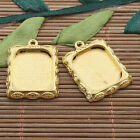8pcs gold tone leaf design picture frame charm h3390