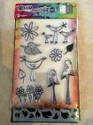 Ranger Dylusions Clear Acrylic Stamp  Stencil Garden Leaves Set NEW