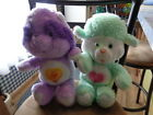 2 VINTAGE Care Bears- STUFFED PLUSH - RACCOON / LAMB