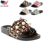 New Women Ladies Chain Bow Slide Slip On Flip Flops Slipper Flat Sandals Shoes