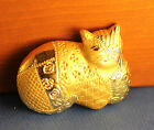 Vintage metal gold toned - calico cat / kitten pin or brooch