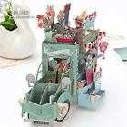 3D Pop Up Flower Car Greeting Cards Anniversary Birthday Party Invitations Gift
