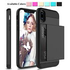 Shockproof Hybrid Slim Card Wallet Hard Back Phone Case Cover For iPhone 6 7 8 X