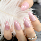 STILETTO CREPE MARBLE Beige Tan Pink Full Cover Press On 24 Nail Tips