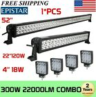52 300W LED Work Light Bar + 22 120W LED Light Bar +4X 4 18W CREE PODS 50