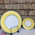 CORRELATIONS FITZ AND FLOYD DINNER PLATE & SIDE /BREAD DISH  YELLOW/GREEN TRIM