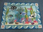 SIGNED CLAIRE MURRAY HOOKED AREA RUG ~ CORAL REEF with TROPICAL FISH 40 1/2