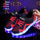 7 LED Kids Luminous Casual Shoes Boys Girls USB Rechargeable Light Up Sneakers