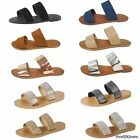 New Women Summer Casual Double Strap Slip On Flat Flip Flops Sandals Shoes