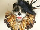 RARE SIGNED LIMITED CLAY ART CAT FACE VICTORIAN WALL MASK PERFECT see
