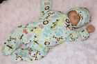 Cheryls Crochet Its a Boy Sleeper Set 14 16 Baby Micro Preemie Doll Reborn
