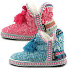 Muk Luks Womens Slipper Boots Indoor House Shoes Cute Sweater Knit Ankle Booties