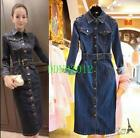 Womens Vintage Denim Dress Bodycon Mid Calf Length Long sleeved Slim Jean Dress