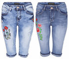 Womens Vintage Denim High Waist Floral Capri Shorts Ladies Ripped Cropped Jeans