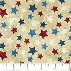 BY 1 2 YD STONEHENGE STARS STRIPES NORTHCOTT FABRIC RED BLUE STARS ON TAN 20159