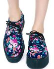 TUK Floral Round Mondo Creeper Rockabilly Flower Print Hipster Dolls Kill
