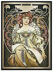 Alphonse Mucha Reverie Art Glass Daydream Beautiful Damsel Decorative Panel