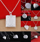 Women Silver Picture Locket Hollow Heart Photo Pendant Chain Necklace Openable C