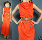 VTG 70s Glam Classic Bright Red Cowl Neck Fitted Evening Maxi Party Dress S