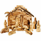 Carvers Art Modern Olive Wood Nativity Set with Stable and Palm Tree