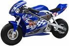 Razor 24 Volt Mini Electric Single Speed Racing Motorcycle Pocket Rocket Blue