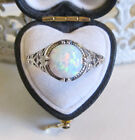 Opal Filigree Sterling Silver Ring Vintage Antique Style Sz 7.75 Free Gift Box