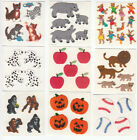 Lot of Nine Sandylion Vintage Fuzzy Sticker Mods Hippo Lion Bear Apple Dalmation