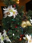 897)  Artificial Lighted Table Christmas Tree White Poinsettias Gold Fruit