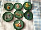 7 Unused Vintage 1950s Girl Scout patches Merit Badge Lot  Writing  Chef +