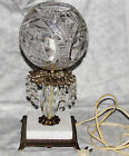 CUT STAR PRESSED GLASS PRISM BOUDOIR LAMP ELECTRIC LIGHT MARBLE BASE