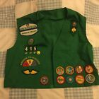 Vintage Girl Scouts green vest with patches  pins  badges  size 8 10  VGC