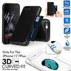 360Case Protective Hybrid Card Cover+3D Tempered Glass F Apple iPhone 7 7 Plus