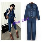 Womens Vogue jeans jumpsuit Vintage Denim Belted overalls long pants Jumpsuit
