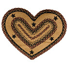 NEW Primitive Blackberry Braided Jute Heart Shaped Rug with Black Stars