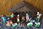 Vintage WEST GERMANY Paper Mache CHRISTMAS NATIVITY SET 14 PC Creche Animals