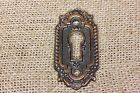 Door Keyhole skeleton key Escutcheon Plate old cast bronze vintage beaded